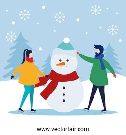 merry christmas woman and man with snowman vector design