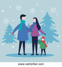 merry christmas mother father and boy kid with pine trees vector design