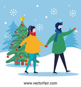 merry christmas woman and man holding hands and pine tree vector design
