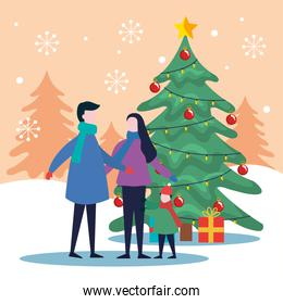 merry christmas father mother and son with pine tree and gifts vector design