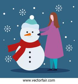 merry christmas woman with snowman vector design
