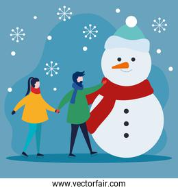merry christmas woman and man holding hands with snowman vector design