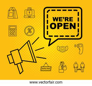 we are open line style icon set vector design