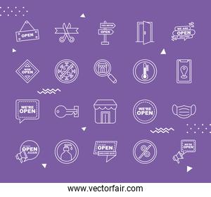 we are open line style set icons vector design