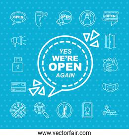 we are open line style set of icons vector design