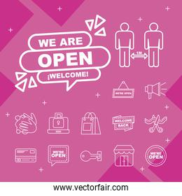 we are open line style icon collection vector design