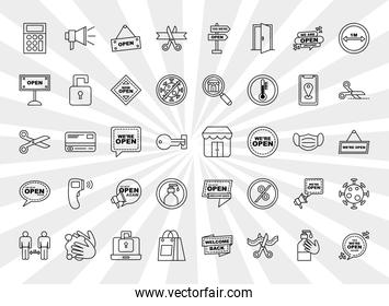 we are open line style icon group vector design