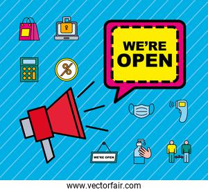 we are open line and fill style icon set vector design