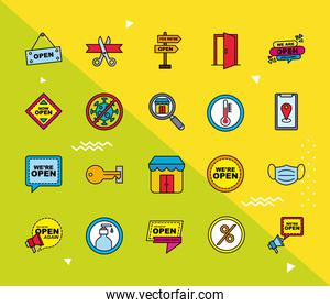we are open line and fill style set icons vector design