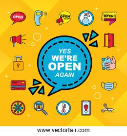 we are open line and fill style set of icons vector design