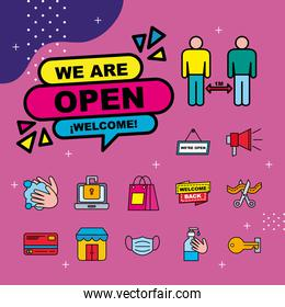 we are open line and fill style icon collection vector design