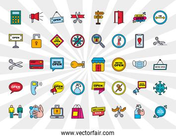 we are open line and fill style icon group vector design