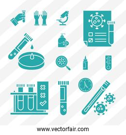covid 19 virus test silhouette style set icons vector design