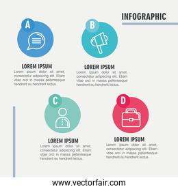 infographic steps bubble megaphone person and suitcase vector design