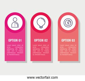 infographic steps person light bulb and coin vector design