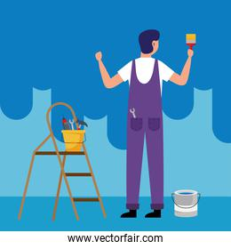 painter man with brush and tools bucket on ladder vector design