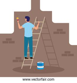 painter man with brush and bucket on ladder vector design
