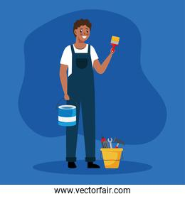 painter man with brush and tools bucket vector design