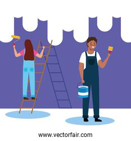 painter man and woman with roll brush and bucket vector design