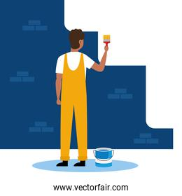 painter man with brush and bucket vector design