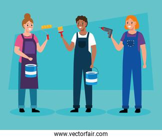 constructer and painter people vector design