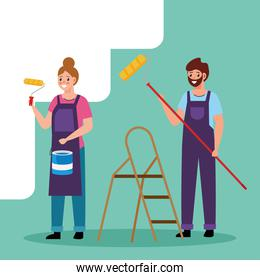 painter man and woman with roll and bucket vector design