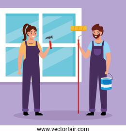 constructer woman and painter man vector design