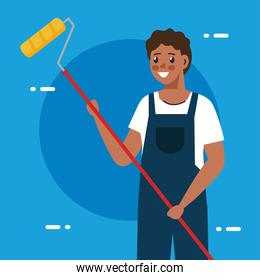 painter man with roll vector design