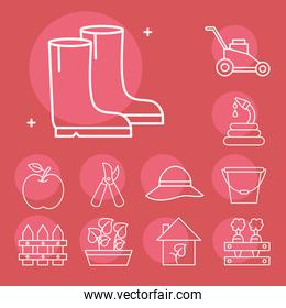 Gardening line style icon collection vector design
