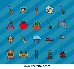Gardening line and fill style icon set vector design