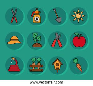 Gardening line and fill style set icons vector design