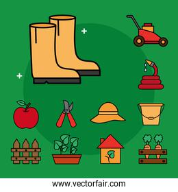 Gardening line and fill style icon collection vector design