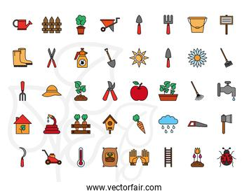 Gardening line and fill style 40 icon set vector design