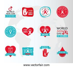 World aids day set icons vector design