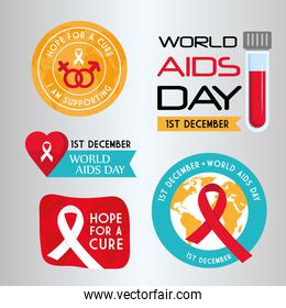 World aids day set of icons vector design