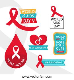 World aids day collection of icons vector design