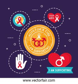 World aids day symbol set vector design