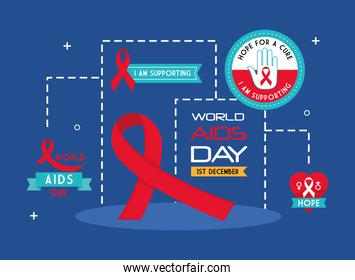 World aids day icons group vector design