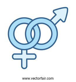 sexual health, gender female and male together line fill blue icon