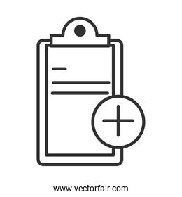 medical equipment clipboard report line icon