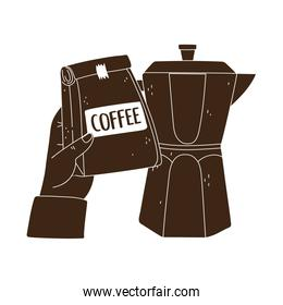 international day of coffee, hand holding package and moka pot silhouette icon style