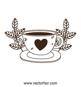 international day of coffee delicious beverage fresh seeds leaves line style