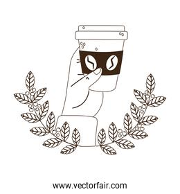international day of coffee, hand holding disposable cup branches seeds emblem line style