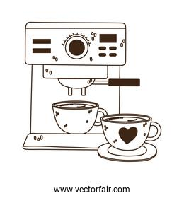 international day of coffee, machine and cups line style