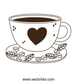 international day of coffee, cup with heart seeds and leaves line style