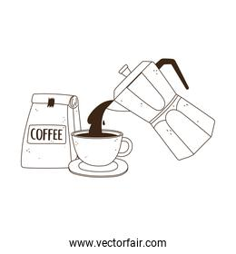 international day of coffee, kettle pouring on cup and package product isolated design line style