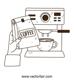international day of coffee, hand with package cup and machine line style