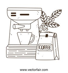 international day of coffee, machine package cup and branch with seeds line style
