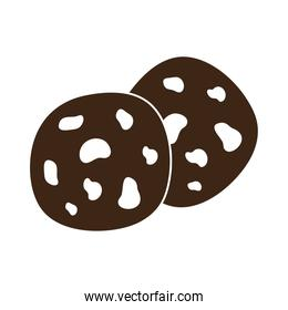coffee cookies with chocolate chips silhouette icon style