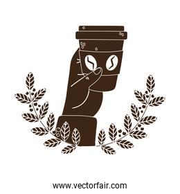 international day of coffee, hand holding disposable cup branches seeds emblem silhouette icon style